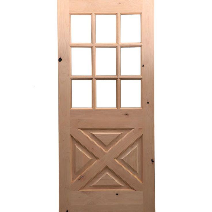 Krosswood Doors 32 In X 80 In Rustic Knotty Alder 9 Lite Clear Glass With X Panel Unfinished Wood Front Door Slab Ka 559x 28 68 134 The Home Depot Wood Front Doors Front Door Wood Doors