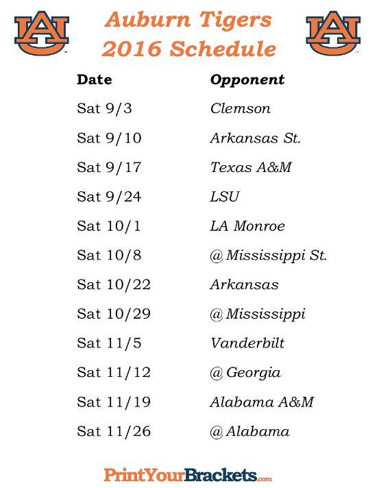 Printable Auburn Tigers Football Schedule 2016