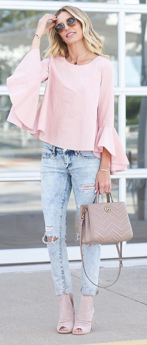 trendy outfit blush top bag rips