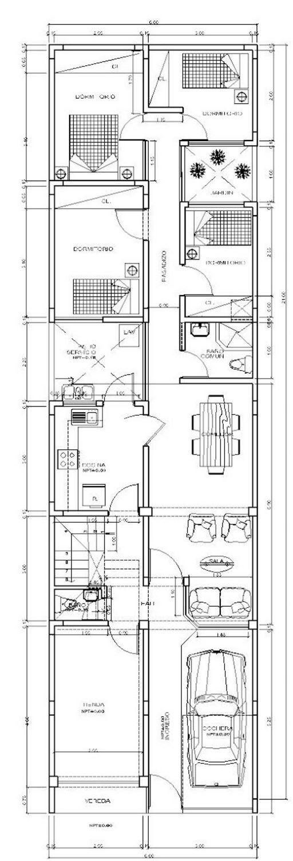 Planos gratis de casas 6 20 2 pisos santi pinterest for Planos de casas 6x20