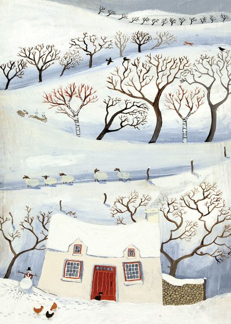 'Winter In The Little Mountain' By Painter Valeriane Leblond. Blank Art Cards By Green Pebble. www.greenpebble.co.uk