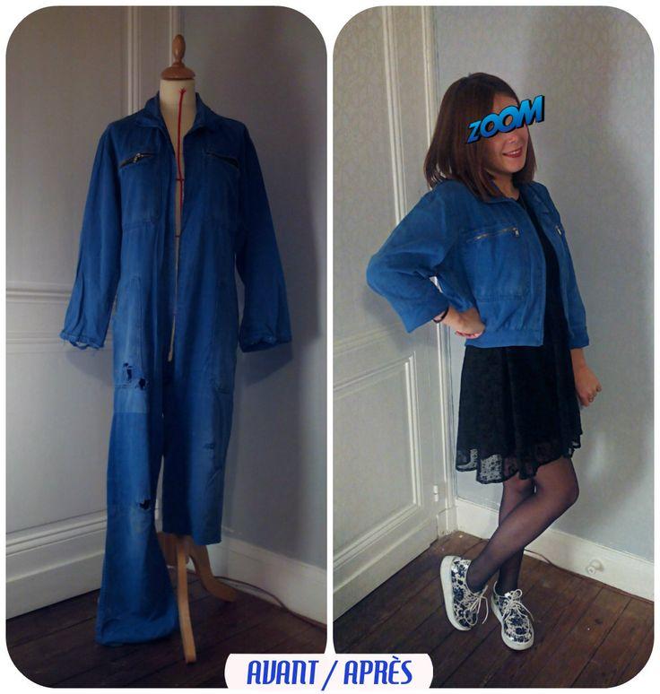 Couture / Sewing/ DIY – TRANSFORMER UN BLEU DE TRAVAIL USÉ EN VESTE/BLOUSON