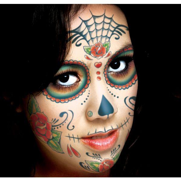 best 25 skull face tattoo ideas on pinterest halloween skull makeup half skull and skeleton. Black Bedroom Furniture Sets. Home Design Ideas