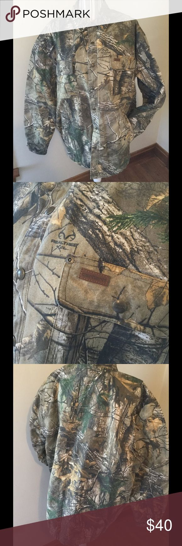 Carhartt Men's quilted Realtree shirt Like new condition, Realtree quilted with hunter orange interior. WEXFORD CAMO SHIRT JAC MEN'S ORIGINAL FIT, COTTON CANVAS, REALTREE XTRA® CAMO, QUILTED LINING  carhartt Jackets & Coats Lightweight & Shirt Jackets