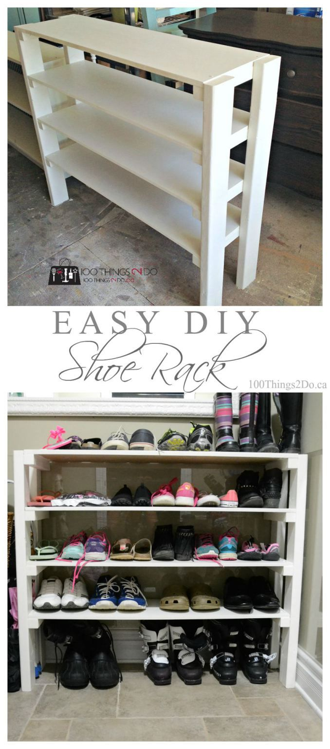 Easy DIY shoe rack Need more #shoestorage? #EasyDIY on the blog today…