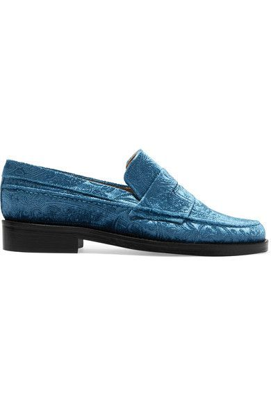 MR by Man Repeller - The Alternative To Bare Feet Embossed Velvet Loafers - Light blue - IT40.5