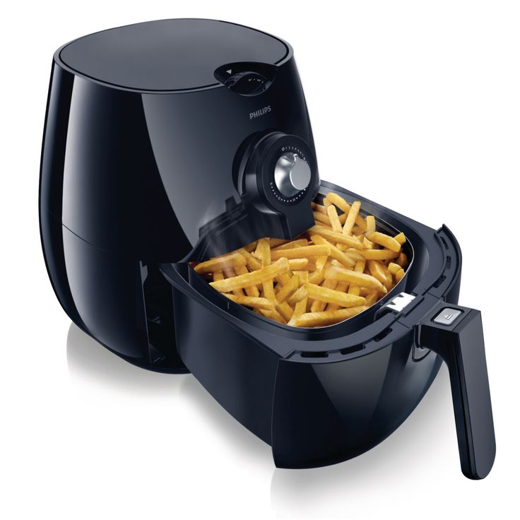 With the Philips Airfryer, you can eat healthier without giving up the taste and texture of your favorite foods. The Airfryer features unique Rapid Air Technology that circulates hot air with speed and precision for faster cooking and perfect results with less oil. An adjustable temperature control up to 390 degrees lets you fry, bake, roast and grill a variety of foods