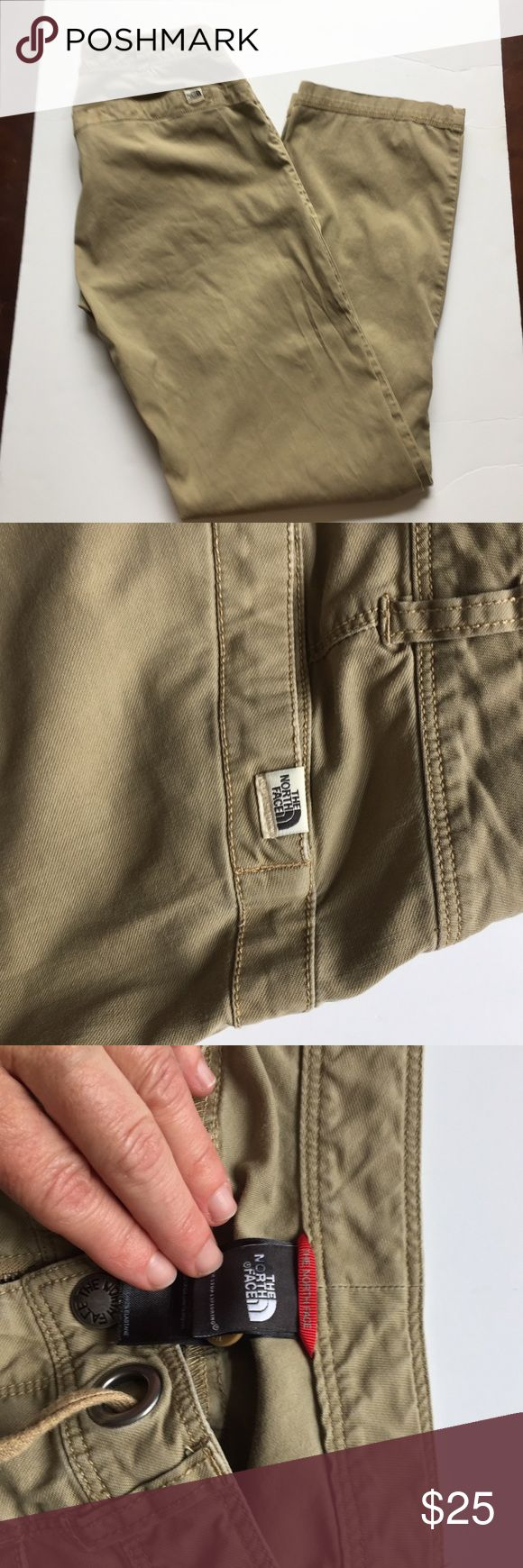 The North Face Noble stretch rollup pants size 8 Notable for their comfort and easy going style. Excellent condition. Cuffs can be rolled up and secured with button tabs for capris length. UPF 30 , stash pockets, adjustable drawstring as well as zipper and snap closure. Size 8 which according to NF website id also considered a medoum. Inseam measures 30, waist is 14 measured in back, leg opening is 7.5. These seems like new, awesome pants, khaki color, perfect for hiking, walking, biking or…