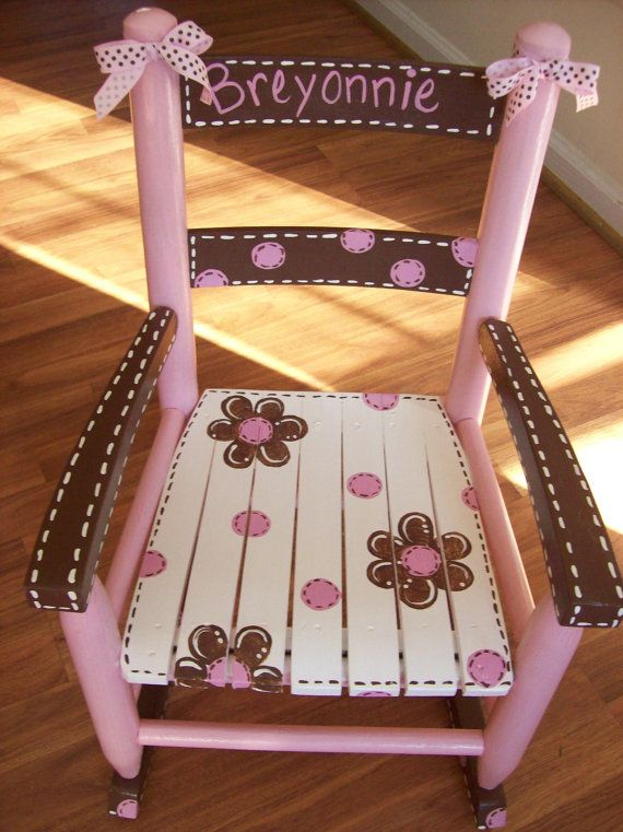 Pink and Brown Rocking Chair Girls - Child rocker - Kid sized - Customized Custom Hand Painted Glider on Etsy, $110.00