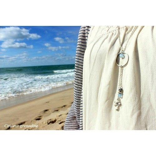Sautoir exotique bohème perles naturelles agate bleu breloque palmier | Couleur grenadine