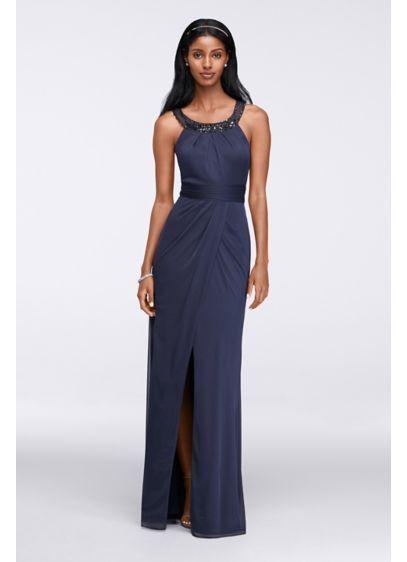 Beaded Illusion Collar Long Dress WBM1057