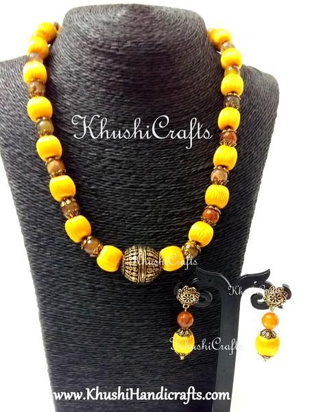 2700431ed Buy Yellow silk thread Jewelry - combined with quartz and german silver  beads online!Silk Thread Necklace set combining Silk beads and Semi  precious stones!