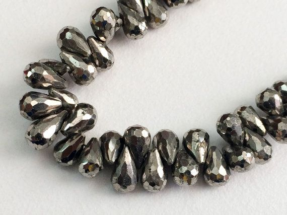 Pyrite Faceted Tear Drop Beads Gunmetal Pyrite by gemsforjewels