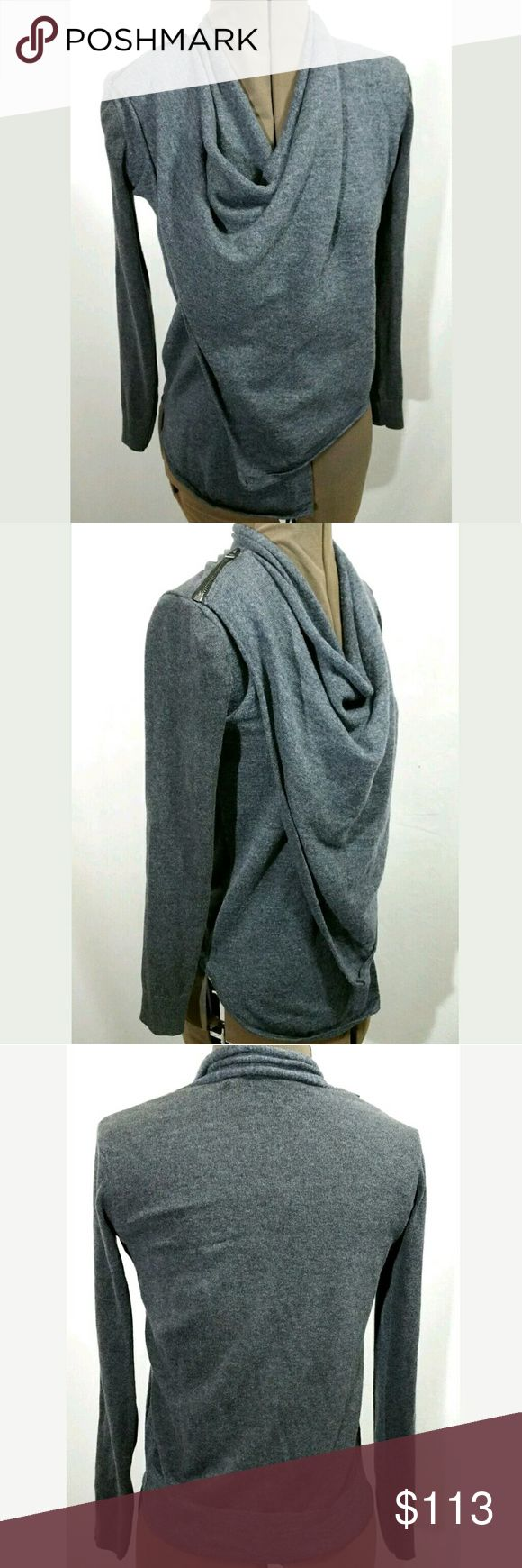 AllSaints Drina Asymmetric Cardigan Gray US sz 0 Best-selling drape cardigan from AllSaints. 2 tone gray with zip shoulder closure. Very modern and cool. Front is wool. Sleeves and the back are cotton. Great pre-owned condition All Saints Sweaters Cardigans