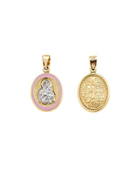 Παναγίτσα Φυλακτό Χρυσό 14Κ με Σμάλτο Αναφορά 011028 Φυλακτό διπλής όψης από Χρυσό Κ14 σε κίτρινο χρώμα και διακοσμημένο με ροζ σμάλτο και με τη μορφή της Παναγίας από Χρυσό Κ14 σε λευκό χρώμα.