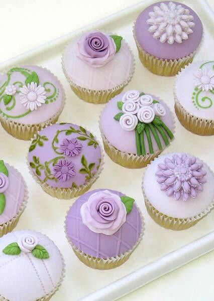 Purple and Green Flower Cupcakes