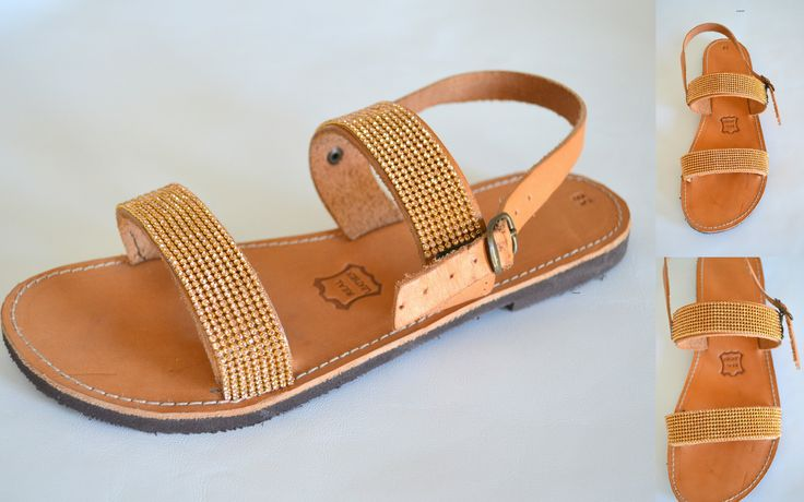 Handmade Leather Sandals Costas Pavlidis!!! Braids, Strass!!! Il Tacco!!!