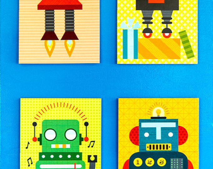 ROBOTS Wall Art Boy Bedroom Pictures CANVAS or Prints Robot