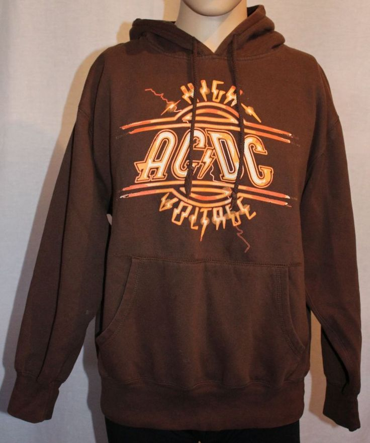 AC/DC High Voltage Brown Pullover Hooded Sweatshirt #AnthillTradingLtd #Hoodie