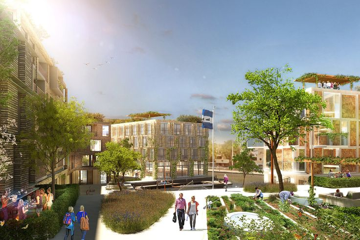 Visuals - Punt de Sniep - Projects - KCAP  vegetation is intertwined with architectural elements + the canal