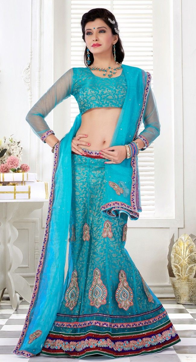 Marvelous Cyan Blue Lehenga Choli Wedding Lehenga Choli