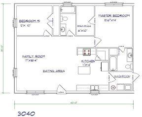 Barndominium cost 2 bedroom, 2 bathroom, 30x40