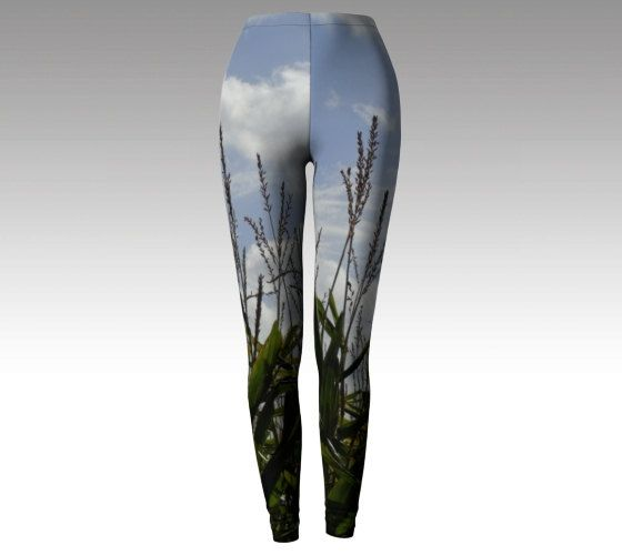 Unique printed leggings size xs s m l xl cloud print yoga pants maize plants green blue nature photo active wear mindfulness plants greenery by RedThanet on Etsy
