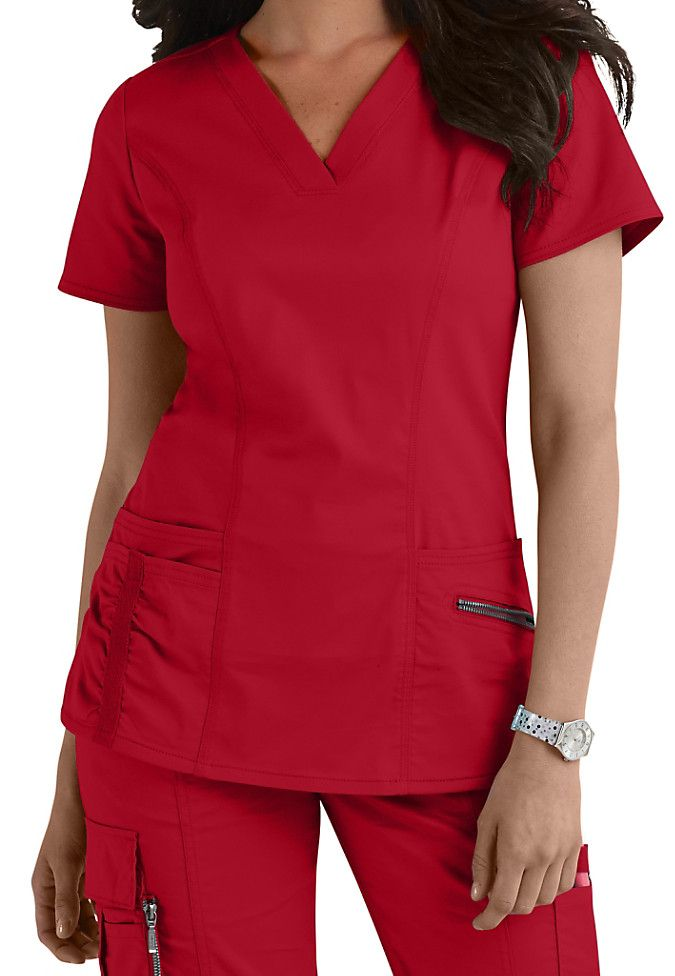 Our Beyond Scrubs Ellie top in Red will definitely become a staple in your scrubs rotation! | Scrubs & Beyond