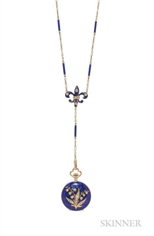 Antique Lady's 18kt Gold, Enamel, and Diamond Hunting Case Pendant Watch, C.H. Meylan, the guilloche enamel case with lily of - Price Estimate: $700 - $900
