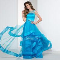Élégant Plus Size Glace Bleu Dames Robes De Soirée En Vente abordable Formelle Robe Sheer Scoop Cou A-ligne Perlée Partie De Bal robe