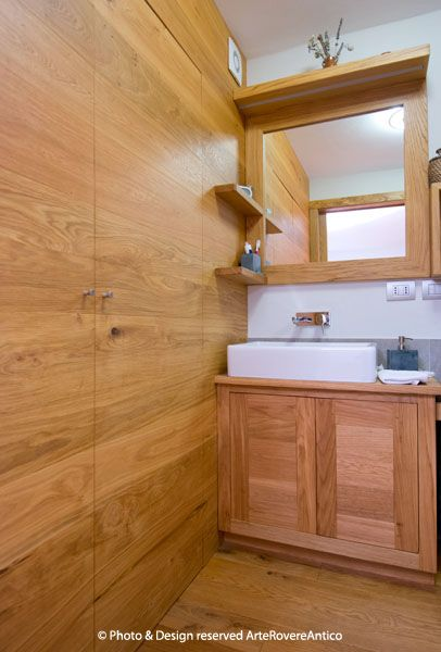 Arte Rovere Antico - Photo by Duilio Beltramone for Sgsm.it - Casa Soppalco Vetro - Sestriere Italy - Wood Interior Design - Glass - Bathroom - Mountain design