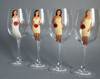 Bridal Party Wine or champagne Glasses Bridesmaids di pastinshs