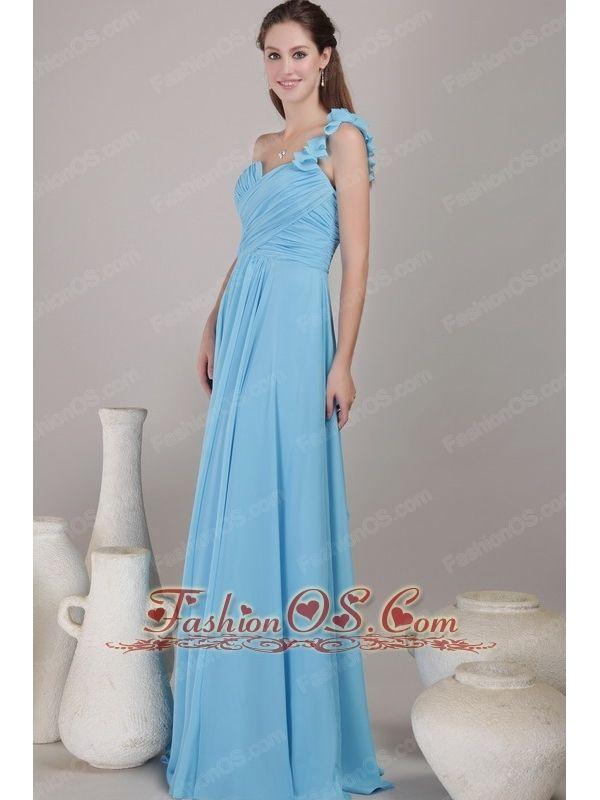 Baby Blue Empire One Shoulder Floor-length Chiffon Ruched Bridesmaid Dress- $108.49   bridesmaid dresses for less | bridesmaid dresses with ruching | sell bridesmaid dress | bridesmaid dress colors | bridesmaid dresses by color |