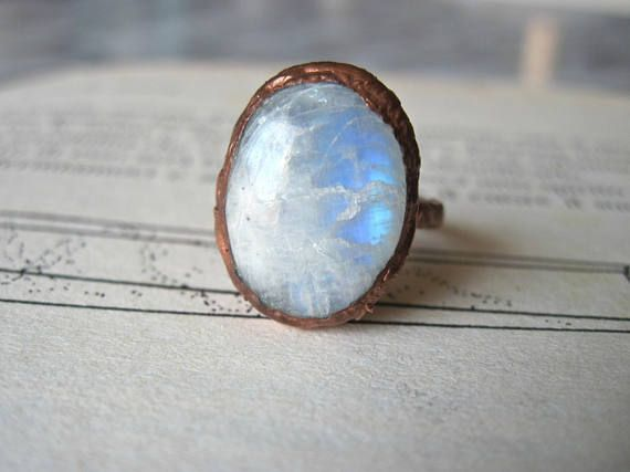 Rainbow moonstone ring size 5  electroformed copper  oval