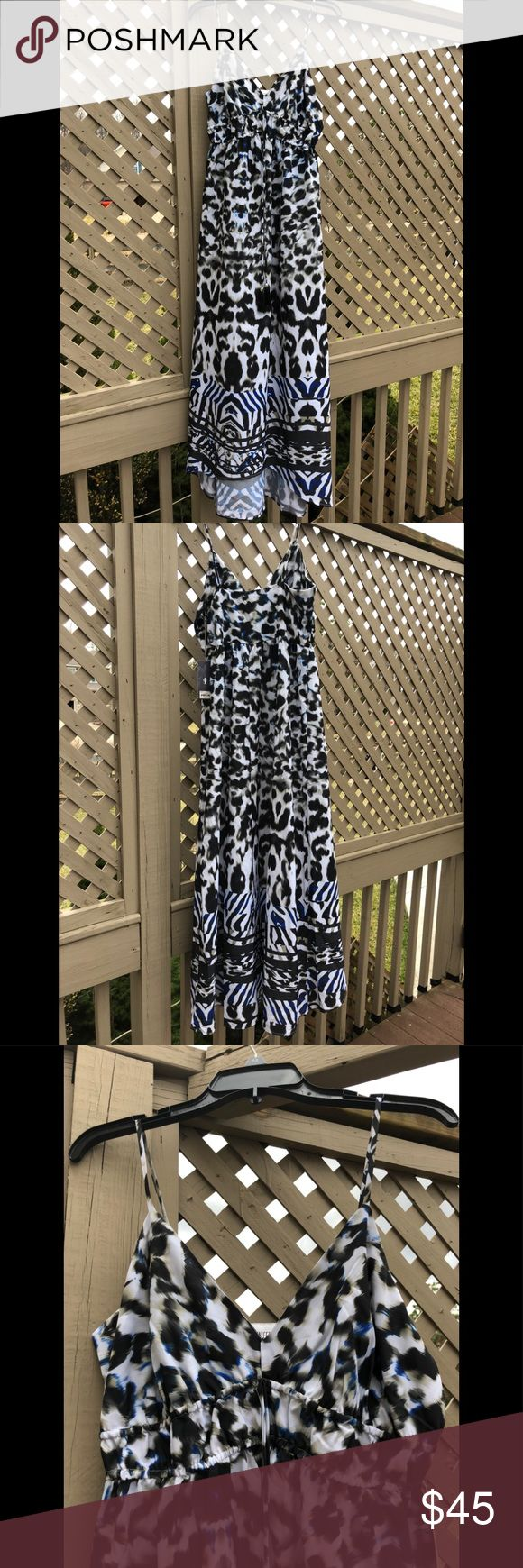 NWT Jennifer Lopez Animal Print Cami Maxi Dress New and Unworn Jennifer Lopez Tonal Animal Print Cami Maxi Dress Dress in a mix of Blacks and White with shuttle splash's is blue throughout Dress material is 100% Polyester Jennifer Lopez Dresses Maxi