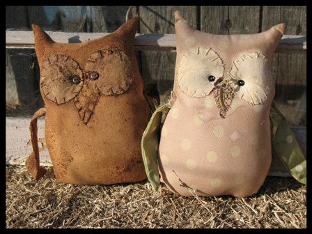 FTFD 28 - Prim Owl Love You Forever - Primitive Old Rag Doll e-pattern. $3.00, via Etsy.