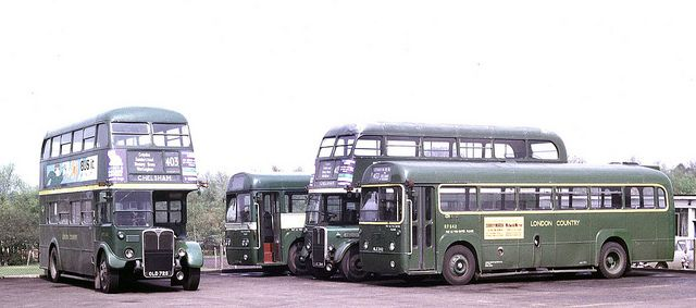 London Country: RT4505 (OLD725) RF94 (LYF445) RT4045 (LUC394) and RF542 (NLE542) at Chelsham Garage | Flickr - Photo Sharing!