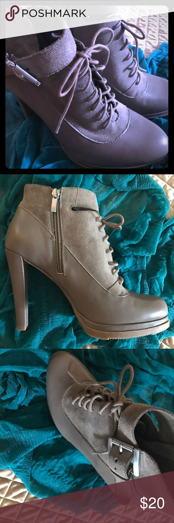 FRENCH CONNECTION LEATHER BOOTIES NWOT FRENCH CONNECTION TAUPE HEELS WITH LACES AND SEPARATE BUCKLE STRAP. GORGEOUS 👡 French Connection Shoes Heels