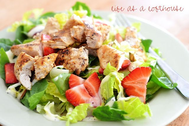Strawberry Chicken Salad - Life In The Lofthouse; grilled chicken, sliced almonds, sliced strawberries, romaine, and combined raspberry vinaigrette and creamy poppyseed dressing (Kraft)