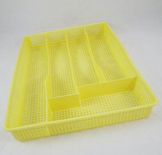 modern organizer yellow | Vintage Yellow Plastic Mesh Flatware Tray Drawer Organizer Silverware ...