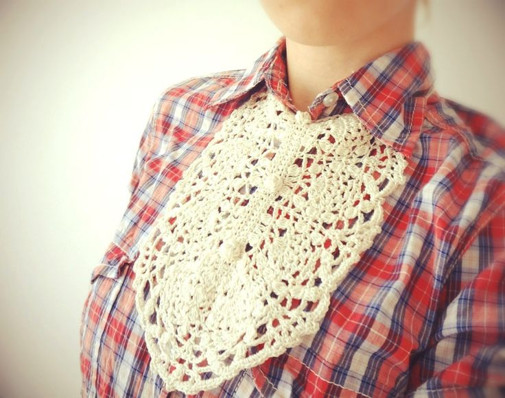 Girls Scarves for 2014 Winter - Crochet jabot scarf ivory necklace accessory collar