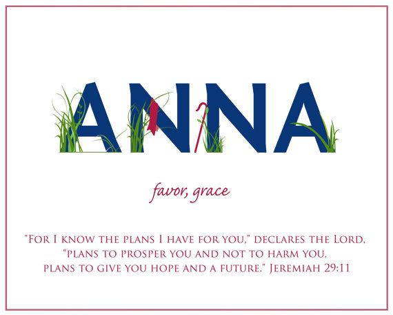 Customizable ANNA Name Art Canvas with Name Meaning and Scripture Verse, 16x20 - Wall art baby name meaning