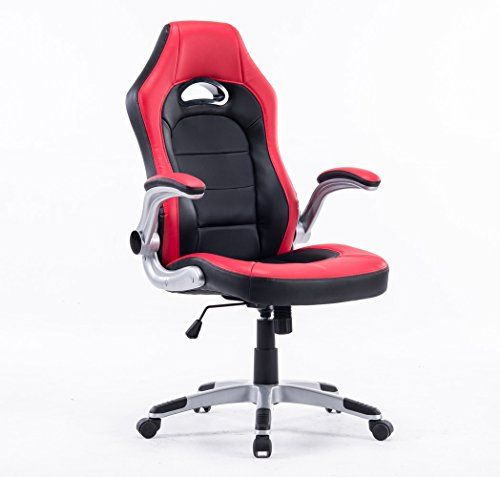 Executive Swivel Gaming Racing Leather HighBack Computer PC Office Chair Manager Chair Red with Black Thick Padded Flip Up Armrest * You can get more details by clicking on the image.