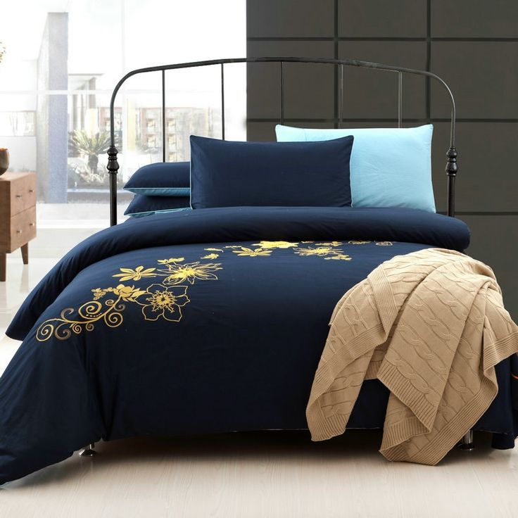 Navy Blue And Yellow 100 Cotton Bedding Sets