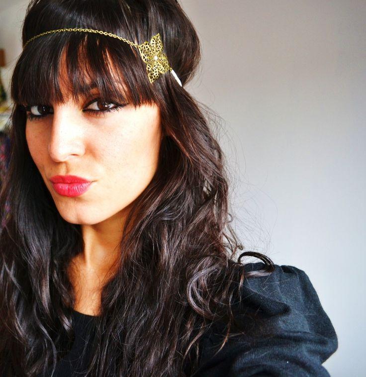 Bijou de t te fleurs bronze et perles blanches headband boh me et hippie chic pour mariage - Headband mariage boheme ...