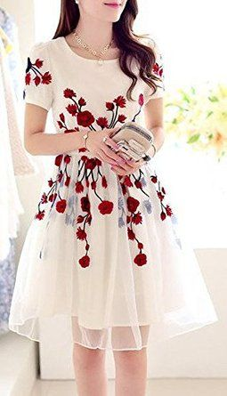 ShivFab White color Red Rose Polyster Printed Kurti.