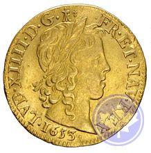 Monnaie royale française louis d'or meche longue 1655x Louis XIV prttb