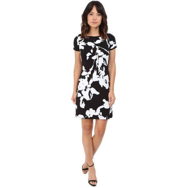 Calvin Klein Printed Shift Dress CD6AT884 Women's Dress ($79) ❤ liked on Polyvore featuring dresses, flower print dress, floral print shift dress, calvin klein, short-sleeve dresses and short sleeve sheath dress