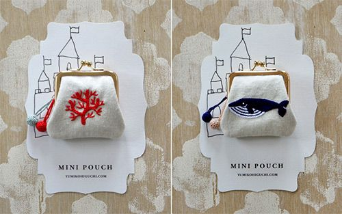 amazing nature-inspired embroidered mini pouches - love!