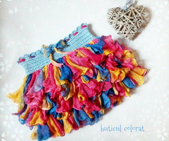 Rainbow dash skirt Ruffle skirtcrochet skirt by ButiculColorat